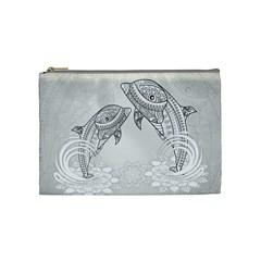 Beautiful Dolphin, Mandala Design Cosmetic Bag (Medium)