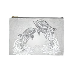 Beautiful Dolphin, Mandala Design Cosmetic Bag (Large)