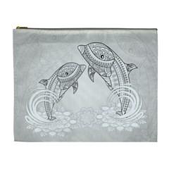 Beautiful Dolphin, Mandala Design Cosmetic Bag (xl)