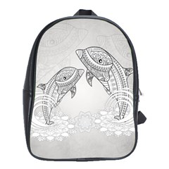 Beautiful Dolphin, Mandala Design School Bags (XL)