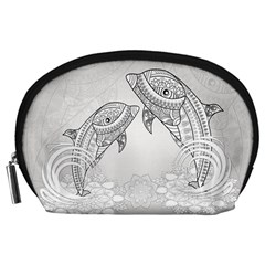 Beautiful Dolphin, Mandala Design Accessory Pouches (Large)