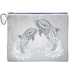 Beautiful Dolphin, Mandala Design Canvas Cosmetic Bag (XXXL)