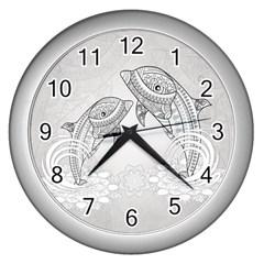 Beautiful Dolphin, Mandala Design Wall Clocks (Silver)