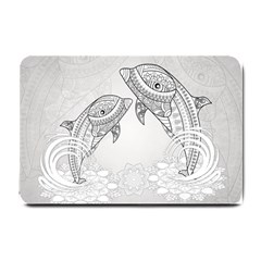 Beautiful Dolphin, Mandala Design Small Doormat