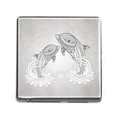 Beautiful Dolphin, Mandala Design Memory Card Reader (Square)
