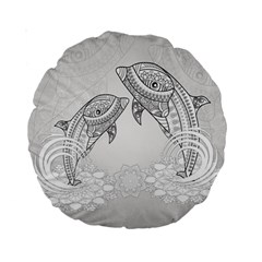 Beautiful Dolphin, Mandala Design Standard 15  Premium Round Cushions