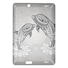 Beautiful Dolphin, Mandala Design Amazon Kindle Fire HD (2013) Hardshell Case