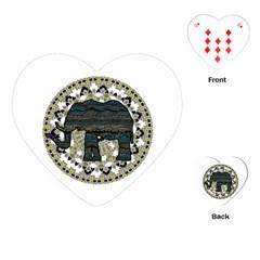 Ornate mandala elephant  Playing Cards (Heart)