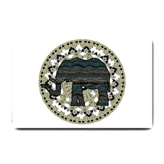 Ornate mandala elephant  Small Doormat