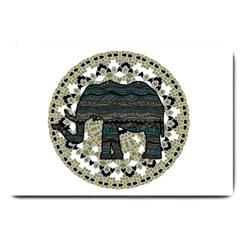 Ornate mandala elephant  Large Doormat