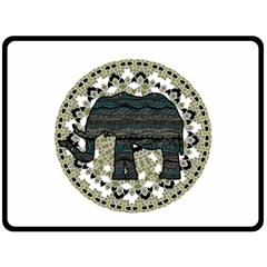 Ornate mandala elephant  Fleece Blanket (Large)