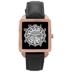 Ornate mandala elephant  Rose Gold Leather Watch