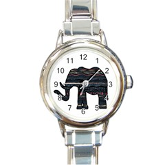 Ornate mandala elephant  Round Italian Charm Watch