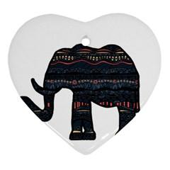 Ornate mandala elephant  Heart Ornament (Two Sides)