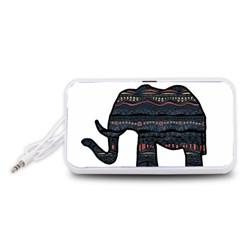 Ornate mandala elephant  Portable Speaker (White)