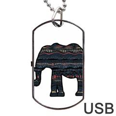 Ornate mandala elephant  Dog Tag USB Flash (One Side)