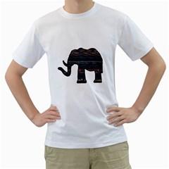 Ornate mandala elephant  Men s T-Shirt (White)