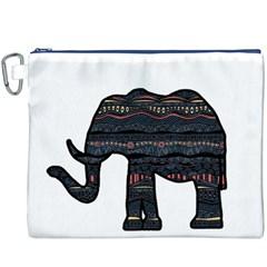 Ornate mandala elephant  Canvas Cosmetic Bag (XXXL)