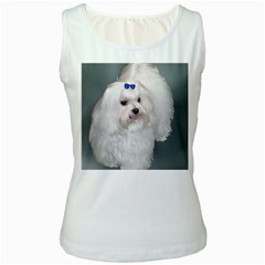 Maltese Full 2 Women s White Tank Top