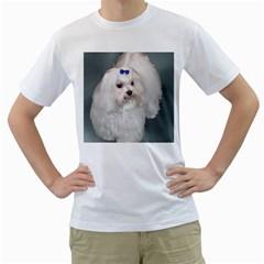 Maltese Full 2 Men s T-Shirt (White) (Two Sided)
