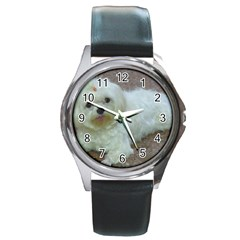 Maltese Laying Round Metal Watch