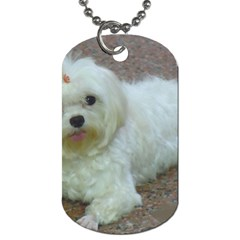 Maltese Laying Dog Tag (Two Sides)