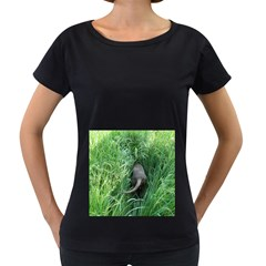 Weim In The Grass Women s Loose Fit T Shirt (black)