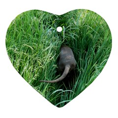Weim In The Grass Heart Ornament (Two Sides)