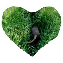 Weim In The Grass Large 19  Premium Flano Heart Shape Cushions