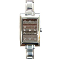 Stripy Knitted Wool Fabric Texture Rectangle Italian Charm Watch