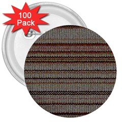 Stripy Knitted Wool Fabric Texture 3  Buttons (100 pack)