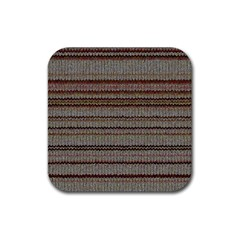 Stripy Knitted Wool Fabric Texture Rubber Coaster (Square)