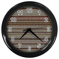 Stripy Knitted Wool Fabric Texture Wall Clocks (black)
