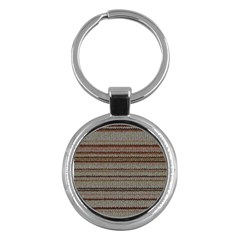 Stripy Knitted Wool Fabric Texture Key Chains (Round)