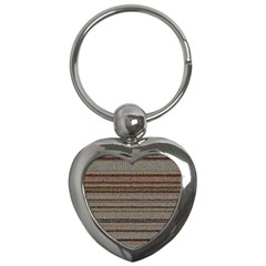 Stripy Knitted Wool Fabric Texture Key Chains (Heart)