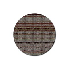 Stripy Knitted Wool Fabric Texture Rubber Round Coaster (4 Pack)