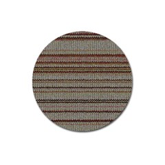 Stripy Knitted Wool Fabric Texture Magnet 3  (Round)