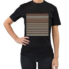 Stripy Knitted Wool Fabric Texture Women s T Shirt (black) (two Sided)