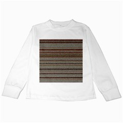 Stripy Knitted Wool Fabric Texture Kids Long Sleeve T-Shirts