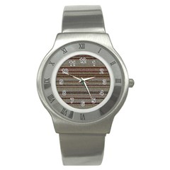 Stripy Knitted Wool Fabric Texture Stainless Steel Watch