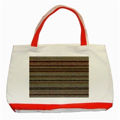 Stripy Knitted Wool Fabric Texture Classic Tote Bag (red)