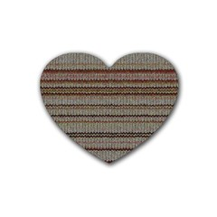 Stripy Knitted Wool Fabric Texture Rubber Coaster (Heart)