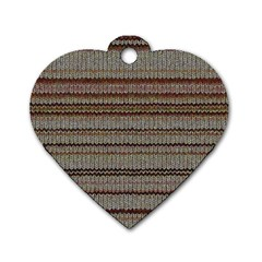 Stripy Knitted Wool Fabric Texture Dog Tag Heart (One Side)