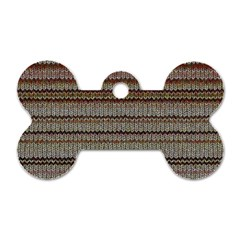 Stripy Knitted Wool Fabric Texture Dog Tag Bone (one Side)