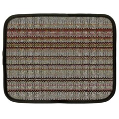 Stripy Knitted Wool Fabric Texture Netbook Case (Large)