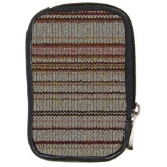 Stripy Knitted Wool Fabric Texture Compact Camera Cases
