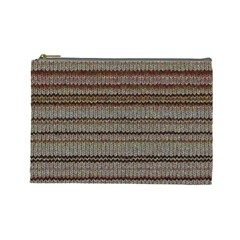 Stripy Knitted Wool Fabric Texture Cosmetic Bag (large)