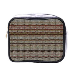 Stripy Knitted Wool Fabric Texture Mini Toiletries Bags