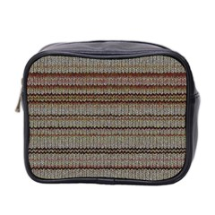 Stripy Knitted Wool Fabric Texture Mini Toiletries Bag 2 Side