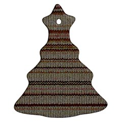 Stripy Knitted Wool Fabric Texture Christmas Tree Ornament (two Sides)